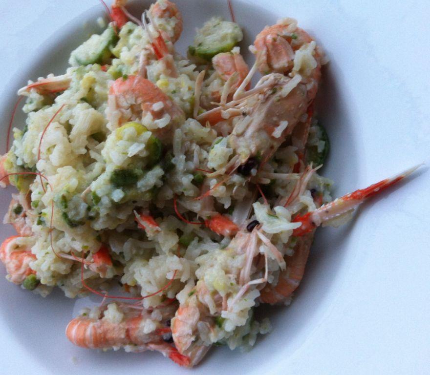 riso con zucchine e scampi