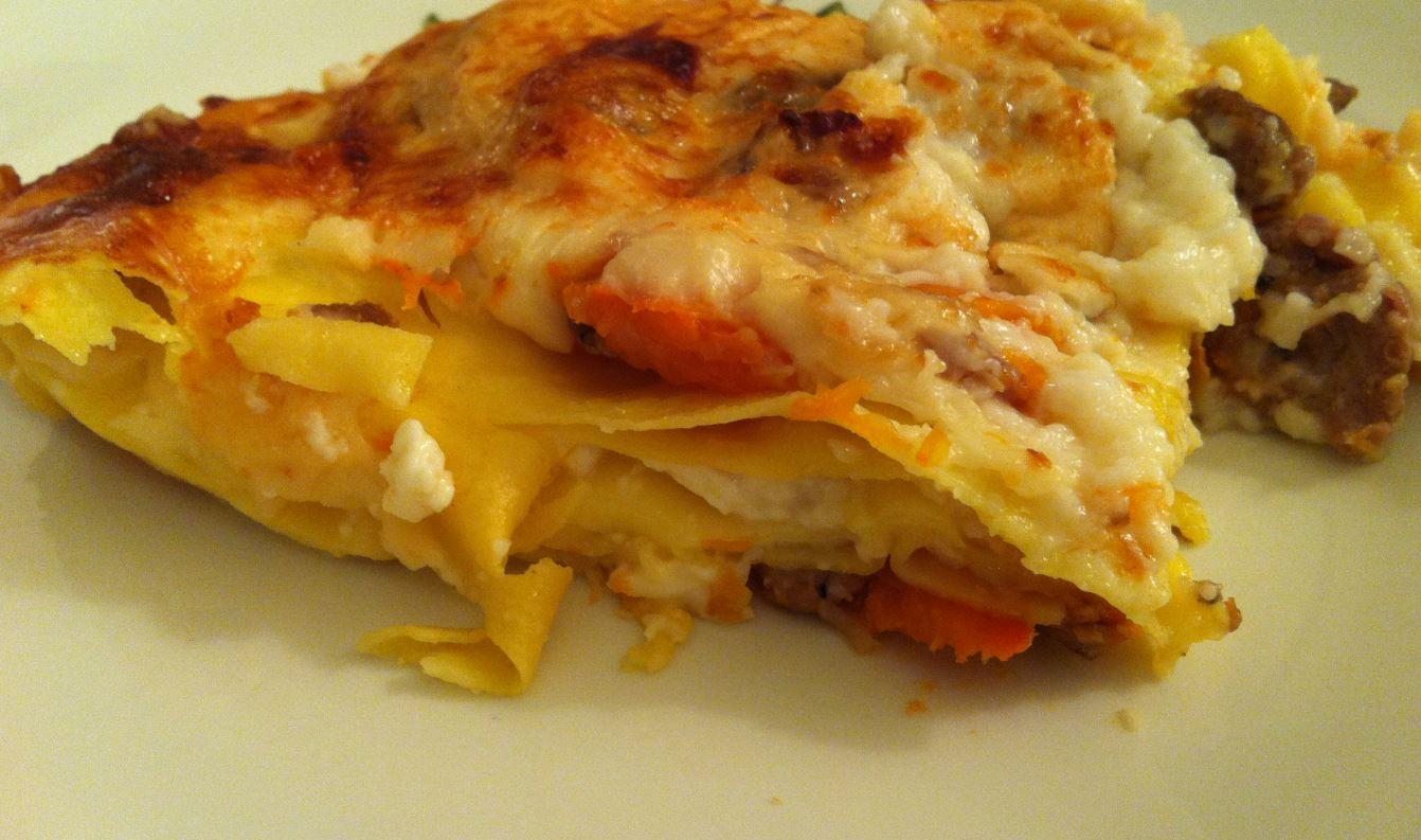 lasagne al forno con salsiccia e zucca