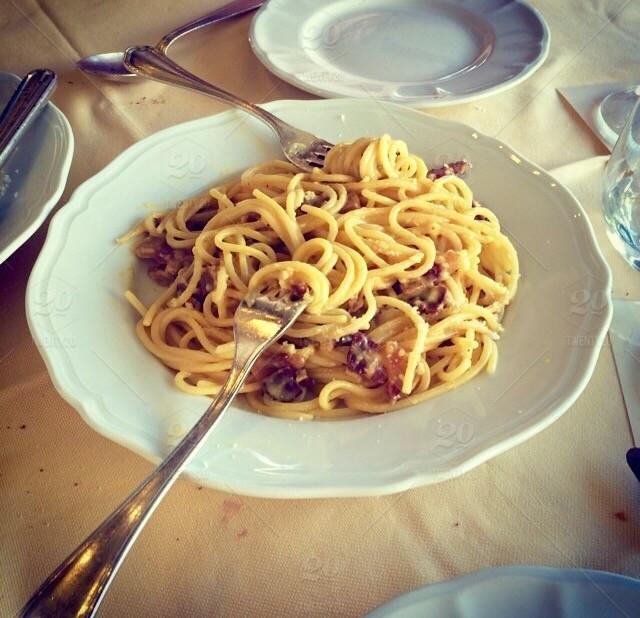 spaghetti alla carbonara di zucca