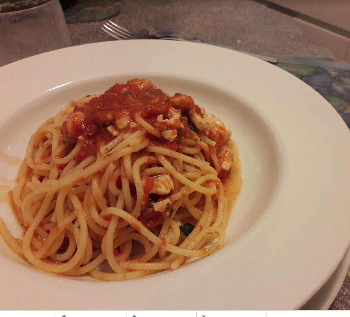 spaghetti con sugo di gallinella